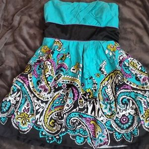 Paisley strapless summer dress with bow